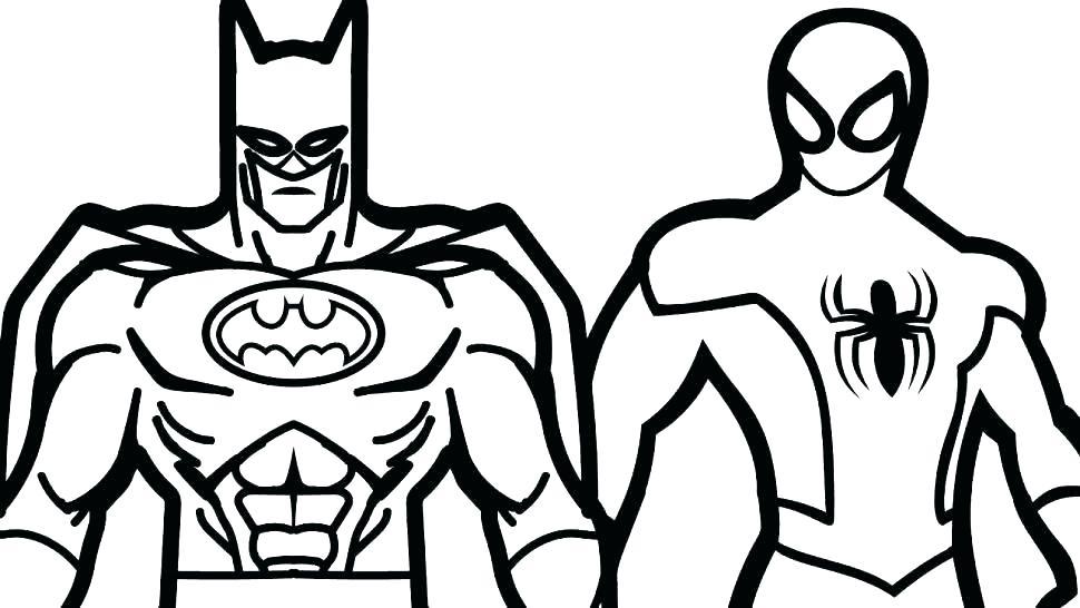 Бэтмен и Человек паук раскраска