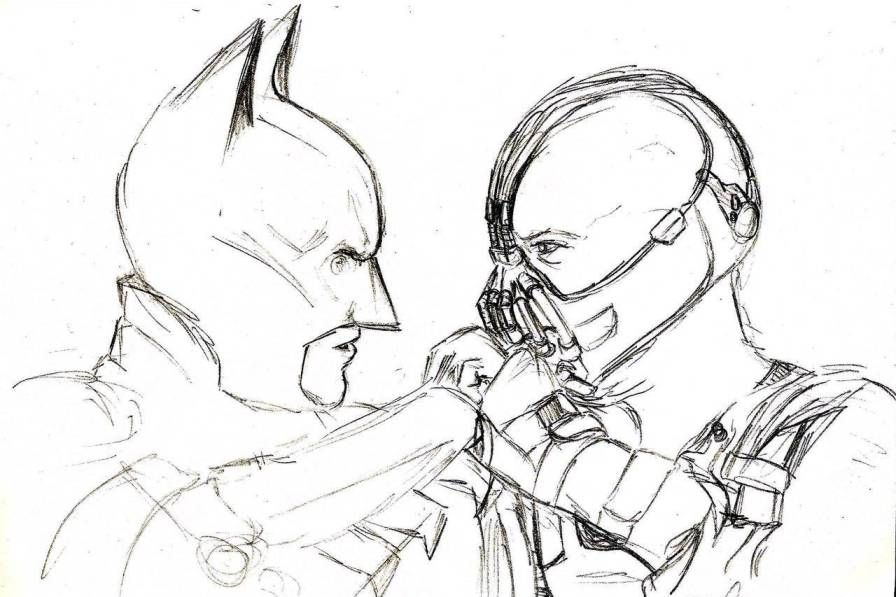 Раскраска Бэтмен против Бэйна Темный рыцарь