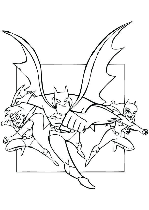 Бэтмен, Красный Робин и Бэтгёрл раскраска