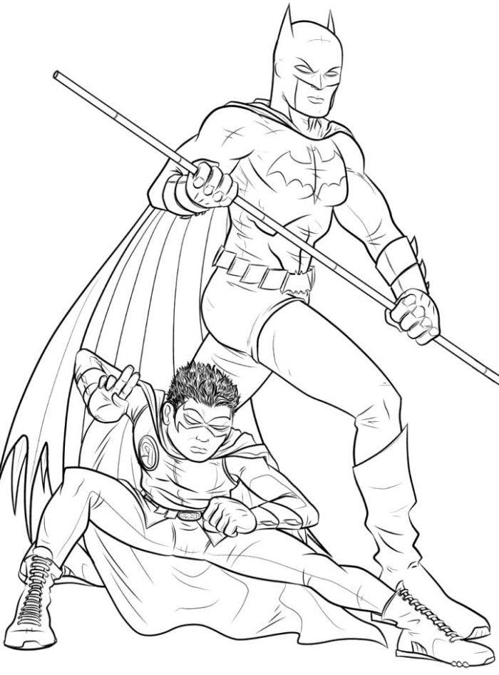 Раскраска Бэтмен и Робин вместе