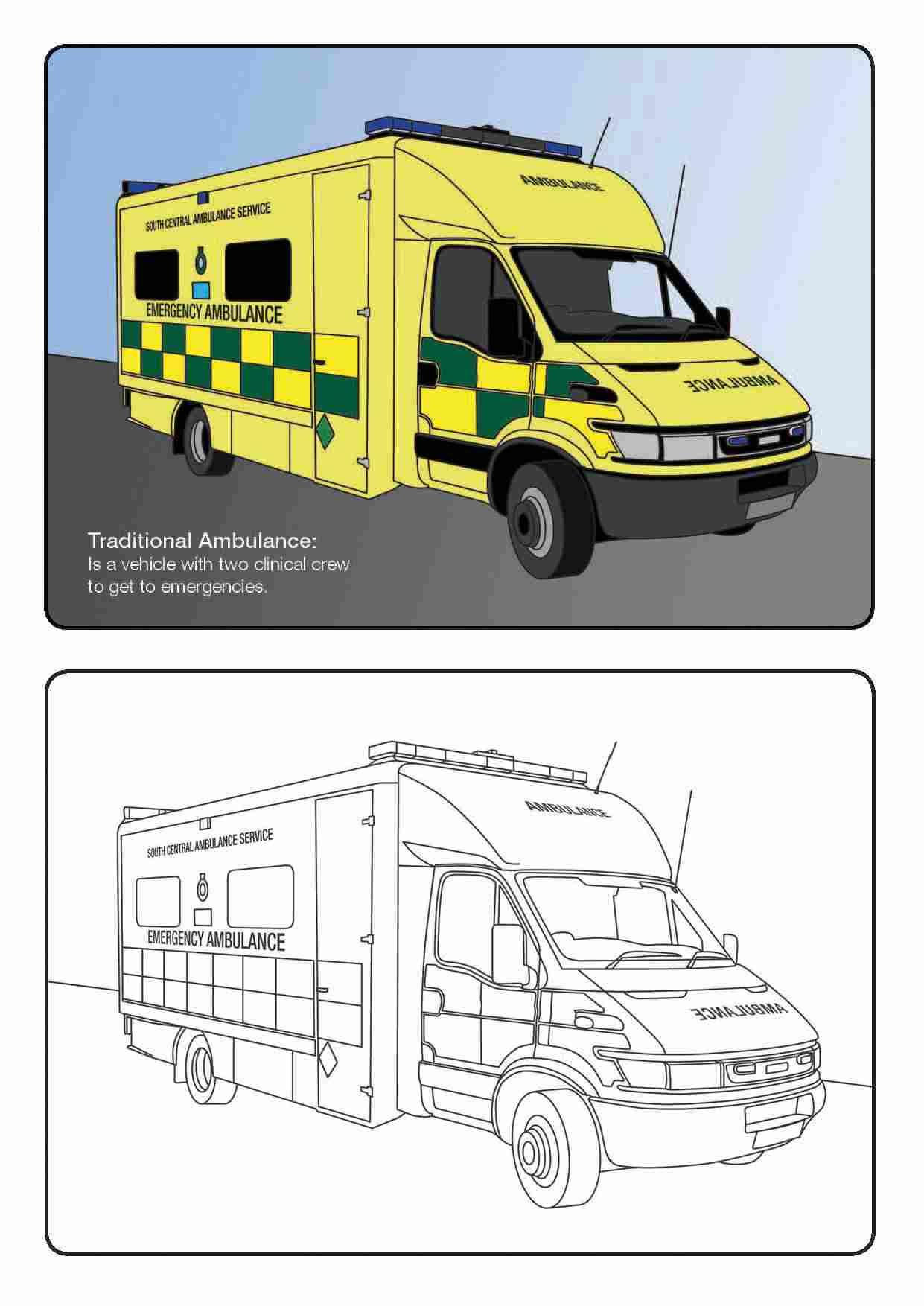 Раскраска машина скорой помощи в странах Европы