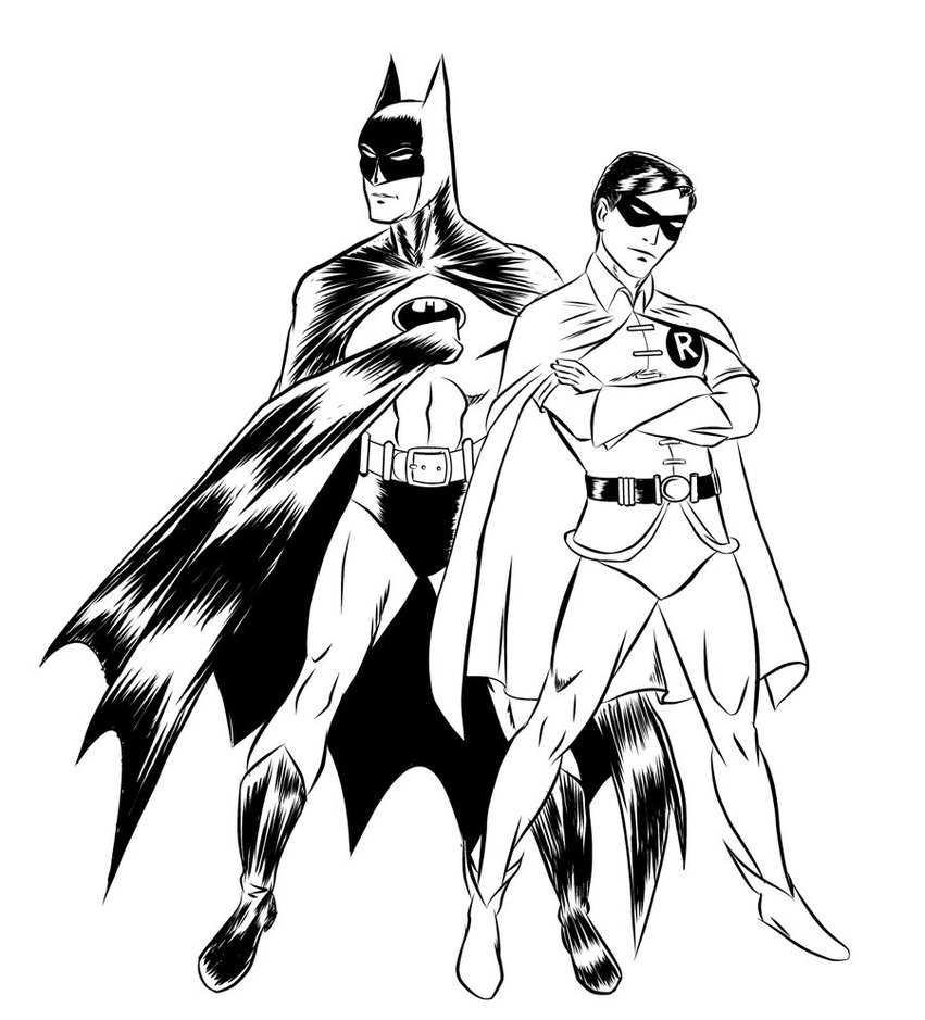 Раскраска Бэтмен и Робин плечом к плечу