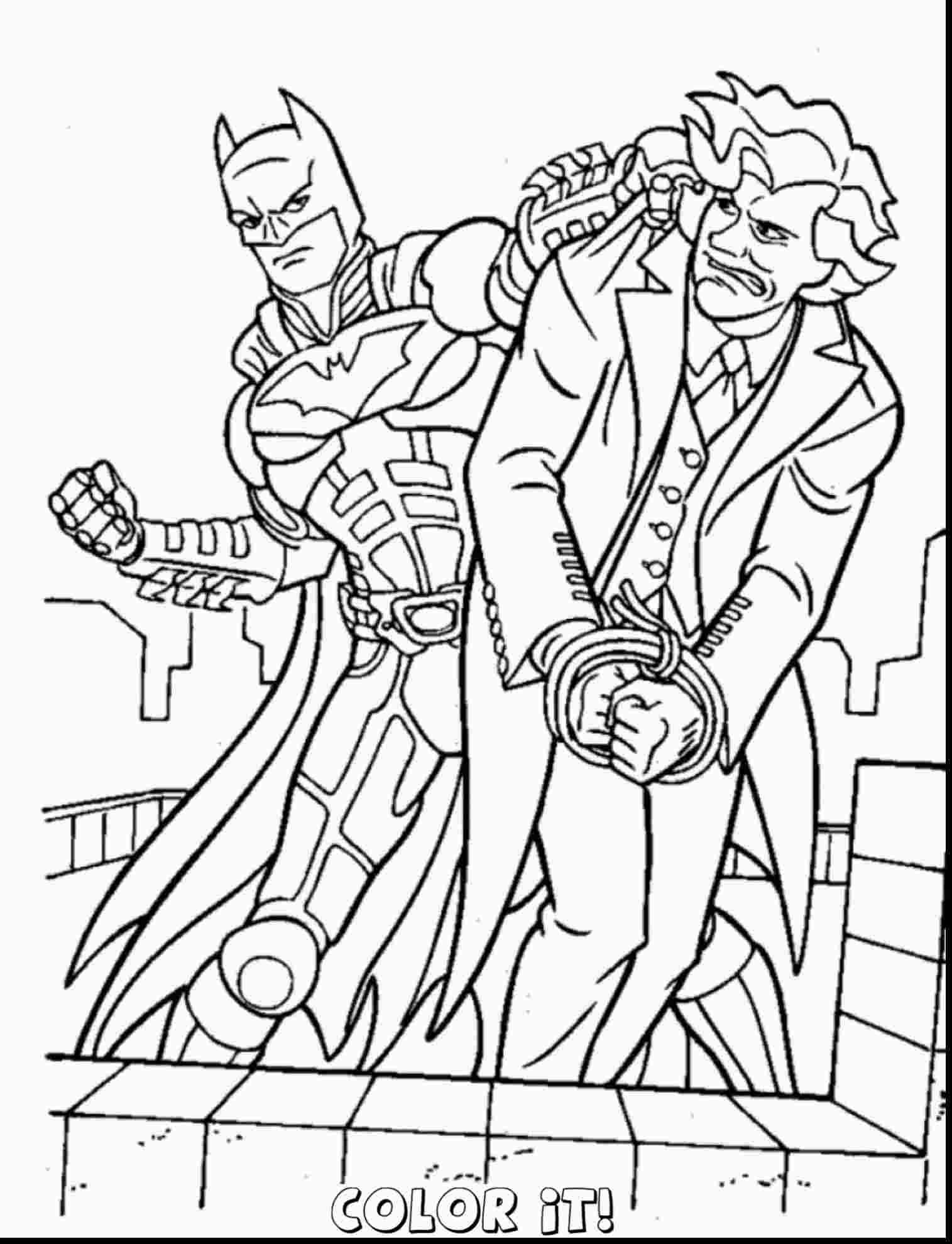 Раскраска Бэтмен бой с Джокером