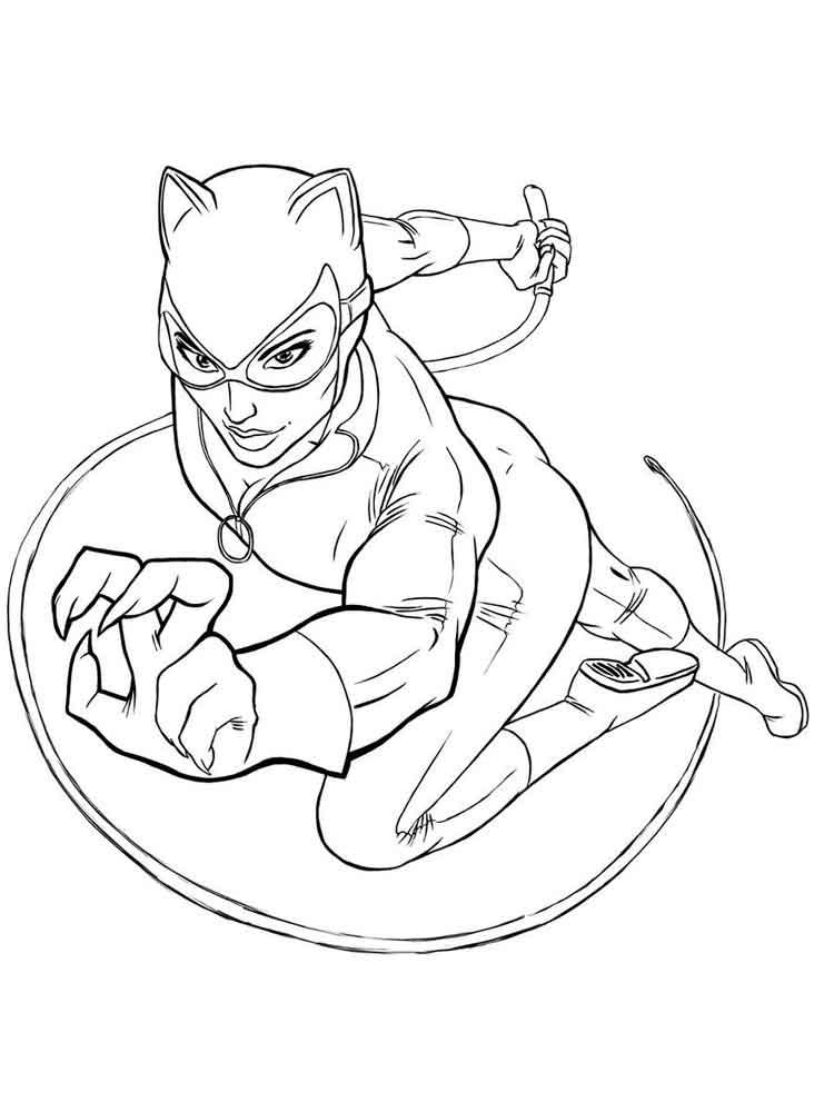 Раскраска Женщина кошка суперзлодейка