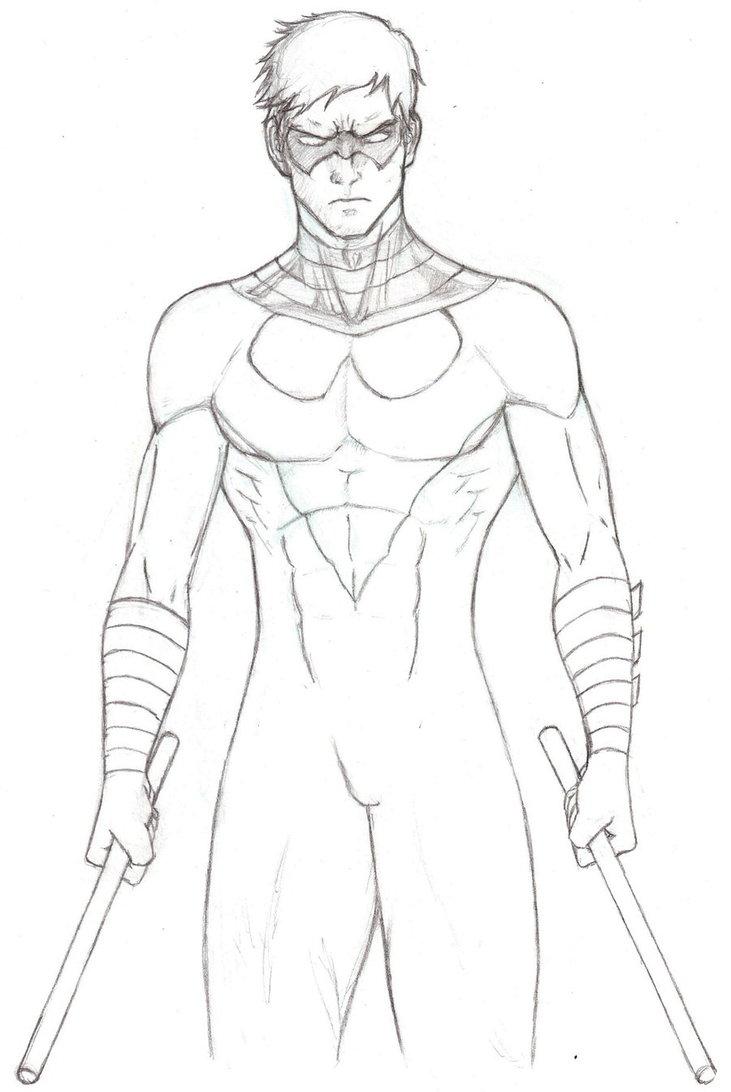 Раскраска Найтвинг супергерой