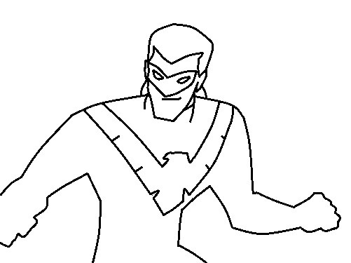 Раскраска Найтвинг — ночное крыло, друг Бэтмена