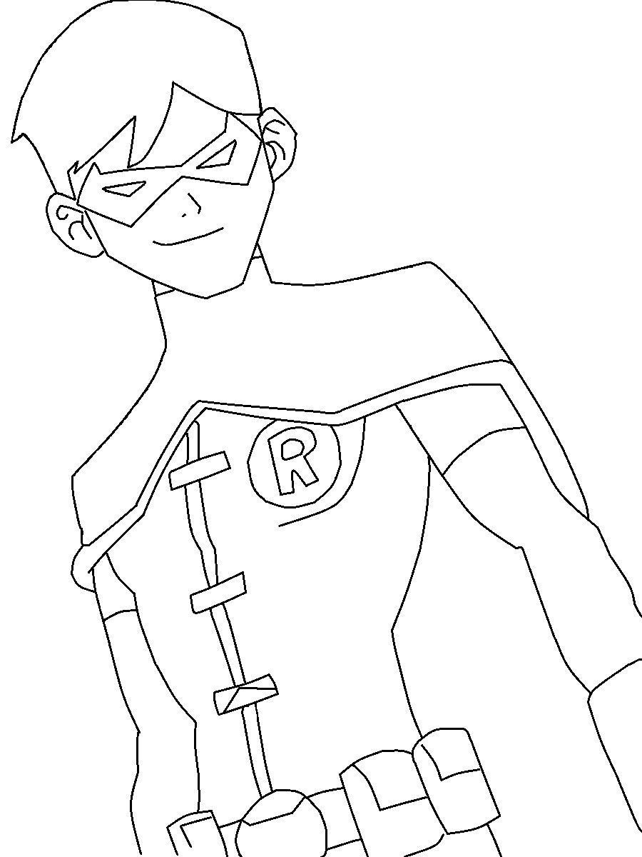 Раскраска Робин супергерой и друг Бэтмена