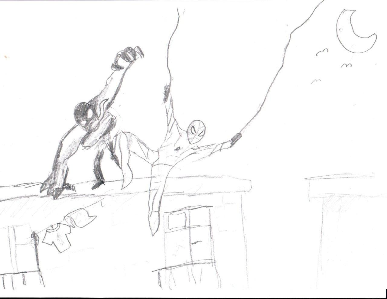 Даня нарисовал Человека Паука против Венома
