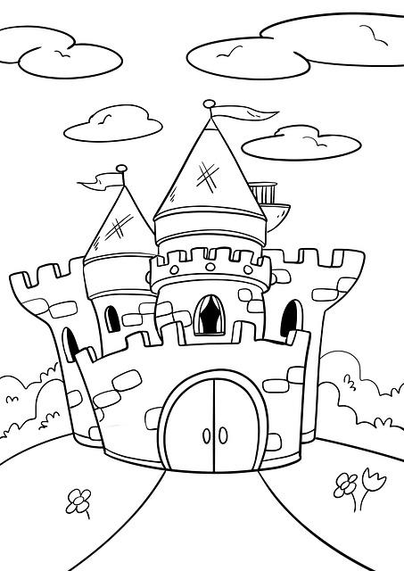 Раскраска замок для детей