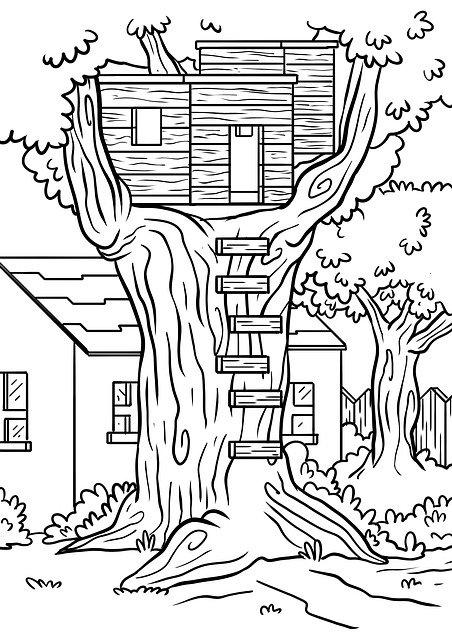 Раскраска Дом на дереве